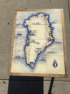 Mid-Century One of a Kind Hand Painted Ceramic Tile Map of Greenland End Table