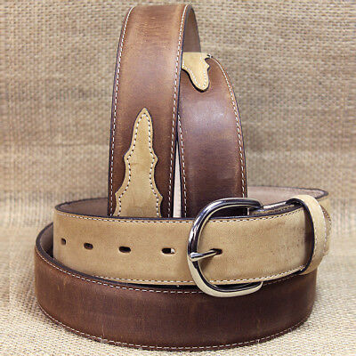 "Silver Creek Classic Western Apache 1-3/8"" Brown W/ Bay Leather Mens Belt"