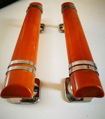 Fantastic Pair of Art Deco Butterscotch Phenolic Handles With Chrome Detailing.