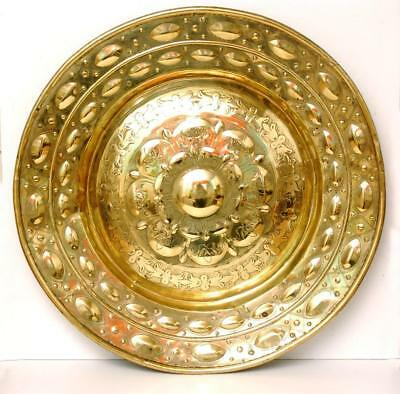 Spectacularly Large Antique Nuremberg Brass Relief Embossed Alms Dish 21 3/4""