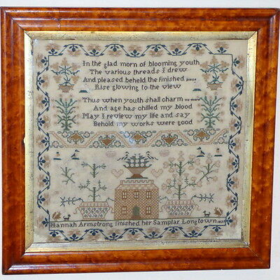 Early Victorian Silkwork Sampler with Large House, Dated 1839