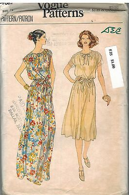 7082 Vintage Vogue Sewing Pattern Misses Very Loose Fitting Pullover Dress 14