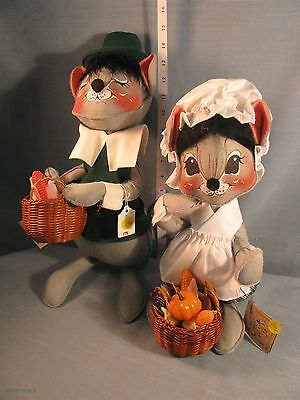 """Annalee Dolls 16"""" Green Pilgrim Boy & Girl Mouse 3080 1991-92-HANG TAG EXCELLENT"""