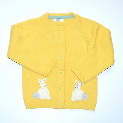 Mini Baby Boden Boys Girls 2-3 Bunny Rabbit Sweater Cardigan Yellow JA1