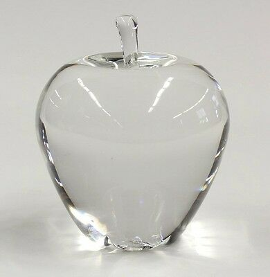 """Signed STEUBEN GLASS WORKS Lead Crystal APPLE 4.25"""" Paperweight Figurine"""
