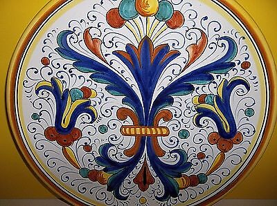 """Vintage DERUTA Majolica Italian Pottery Plate CHARGER 12.25"""" Cobalt Blue YELLOW"""