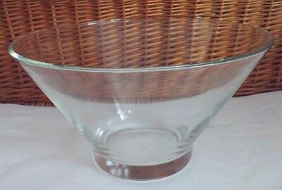 """Vintage Large Clear Glass Mixing Serving Bowl 10.5"""" Across 6.5"""" Tall Unmarked"""