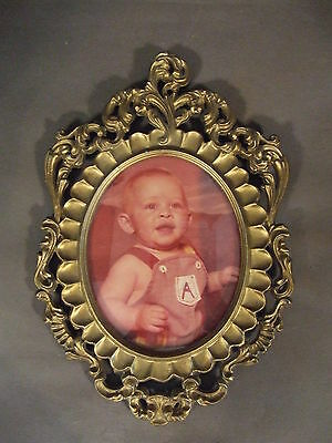 Vintage Mod Depose Italy Gold Tone Picture Frame With Baby Picture