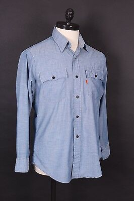 Vtg 70S Levis Western Chambray Shirt Usa Mens Size Large