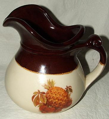 Vintage McCoy-7515-Brown-Pitcher-Pineapple-Strawberry-Fall Harvest