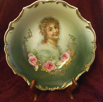 Antique  Bowl with Portrait of Young Bavarian Girl and Roses