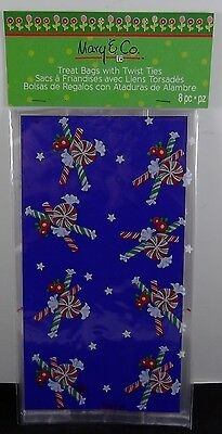 New, 2013 Mary & Co. Blue Candycane Treat Bags With Twist Ties