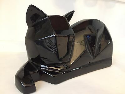 Vintage Black Cubist Ceramic Cat By Vanguard Accents For Sears Hyalyn Pottery