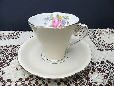 ART-DECO-PEACH-AND-FLORAL-GRAFTON-TEA-CUP and SAUCER