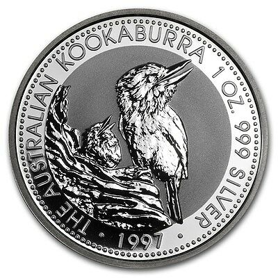 1997 Australia Kookaburra 1 Ounce .999 Silver Coin from Sealed Roll