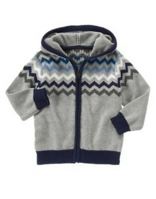 NWT Gymboree Boy SKI PATROL Gray Hooded Cardigan Sweater  Size 2T