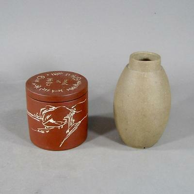Two Signed Chinese Yixing Pottery Tea Caddies, One with Landscape & Inscriptions