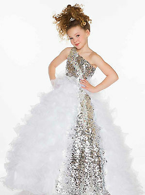 US Stock Size 12 White Tulle Flower Girl Dress Princess Birthday Pageant Gown