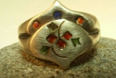 Antique Silver Chinese Ring Flowers Enamel Signed
