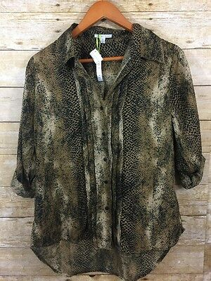 Larsen Gray Button Down Shirt Womens Size Small Brown 3/4 Sleeve Blouse Top NWT