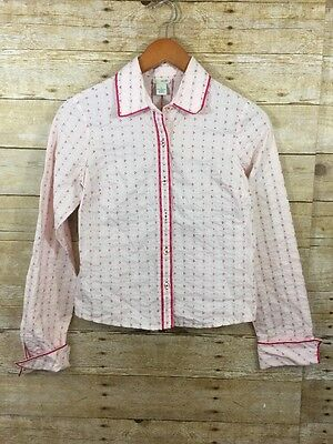 Anthropologie Odille Button Down Top Womens Size 4 Pink 100% Cotton Blouse Shirt