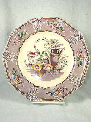 "Antique L P & Co. Purple Polychrome & Gold INDIAN Pattern 8-3/4"" Ironstone Plate"