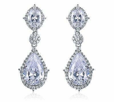 Shiny Teardrop Cz Silver Chandelier Earrings Wedding Bridal Prom Jewelry Cz11915