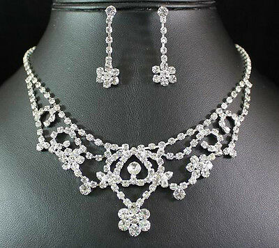 Charming Clear Austrian Rhinestone Crystal Necklace Earrings Set Bridal N1433