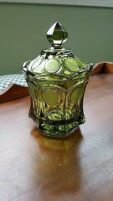 Vintage Etched Glass Olive Green Coin Dish Candy Jar w/Lid