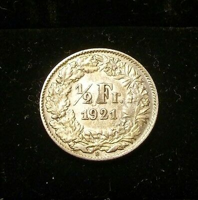 Switzerland 1921 1/2 Franc BU UNC Silver Coin NO RESERVE!