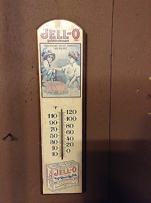 Vintage Jell-O Wood Wooden Thermometer George Nathan Country Americana Original