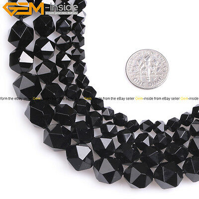 AAA Grade Natural Stone Faceted Black Agate Beads For Jewelry Making Strand 15""