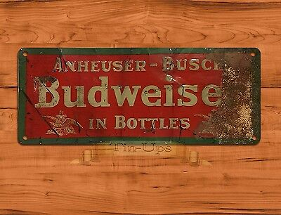 "TIN SIGN ""Budweiser Rust"" Bud BEER Rustic Garage Wall Decor"