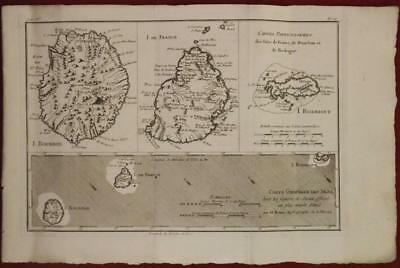 Réunion Mauritius Mascarene Islands 1780 Bonne & Raynal Antique Engraved Map