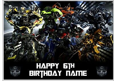 Transformers Personalised Edible Icing Cake Topper A4 Size