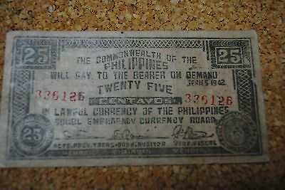 Philippines 1942 Emergency Note 25 Centavos - Combined Post