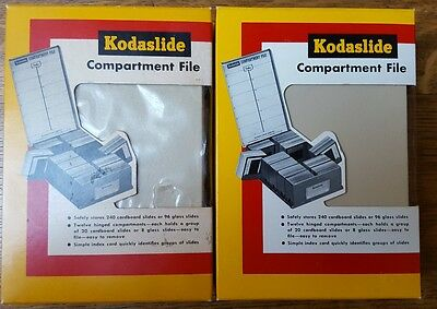 2 NIB Vintage KODAK 330 Kodaslide Compartment File 35mm Slide STORAGE BOXES