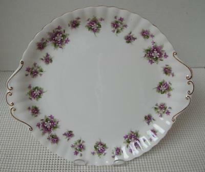 SWEET VIOLETS by Royal Albert TAB HANDLED CAKE PLATE TRAY China England EUC