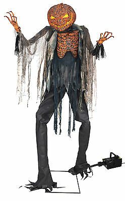Halloween Life Size Animated Scorched Scarecrow Pumpkin Fog Machine Prop Decor