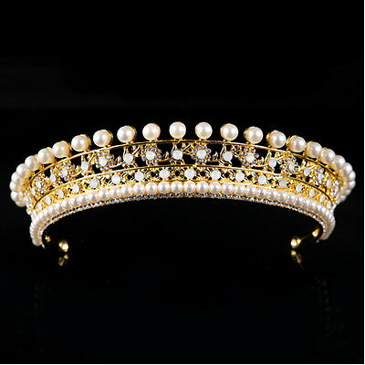 2 Colours 4cm High Pearl Crystal Crown Tiara Adult Wedding Party Pageant Prom