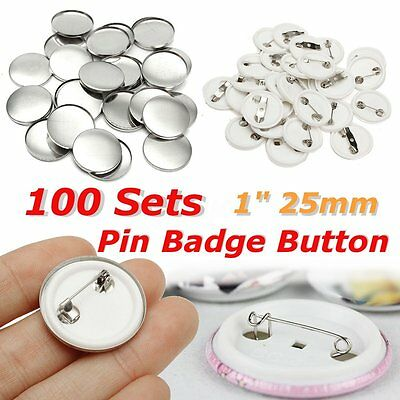100Pcs 25mm/1'' Tinplate Pin Badge Button Part Supplies for Pro Maker Machine