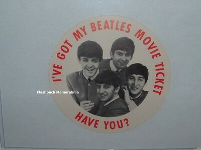 """BEATLES Unused 1964 A HARD DAYS NIGHT Movie PICTURE Button """"I'VE GOT MY TICKET"""""""