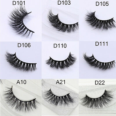 Hot Sale Real 3D Mink False Eyelashes Thick Cross Long Lashes Extension 9 Styles