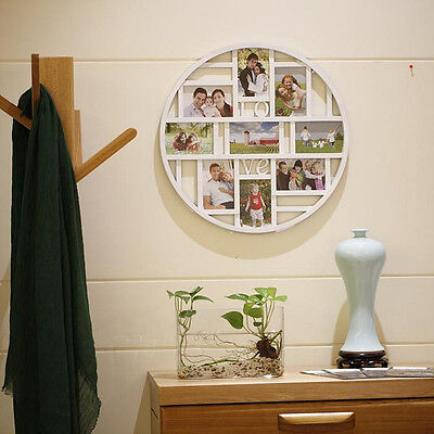9 Grid Circular Collage Photo Frame Holds 6x4'' Pictures Wall Hanging Home Decor