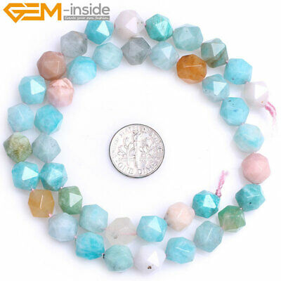AAA Faceted Multicolor Peru Amazonite Beads JGemstone ewelry Making Strand 15""
