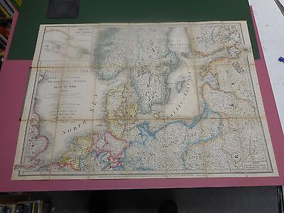 100% Original Baltic Sea  Russia Folding Map On Linen By James Wyld C1854