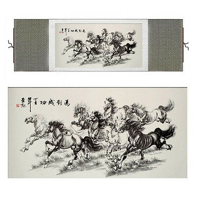 "Horse painting Home Office Decoration Chinese painting horse painting 12""x40"""