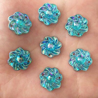 NEW DIY 20pcs 15mm AB Resin Flower Flatback Rhinestone Wedding 2 hole Buttons