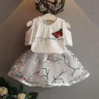 Child Toddler Girl Party Dress Outfits Shirt Tops+Floral Tutu Skirt 2PCS Clothes