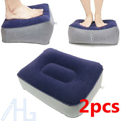 2X Inflatable Travel Foot Rest Footrest Pillow Help Reduce DVT Risk on Flights